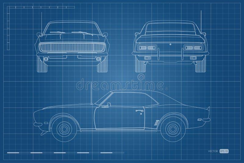 Ritning av den retro bilen Amerikansk tappningbil av 60-tal i översiktsstil Framdel-, sido- och baksidasikt Klassisk automatisk royaltyfri illustrationer