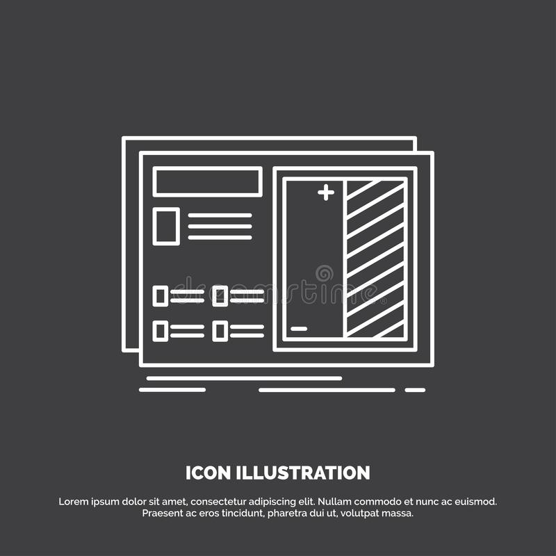 Ritning design, teckning, plan, prototypsymbol Linje vektorsymbol f?r UI och UX, website eller mobil applikation royaltyfri illustrationer