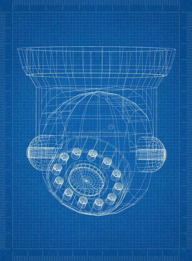 Ritning för arkitekt för säkerhetskamera stock illustrationer