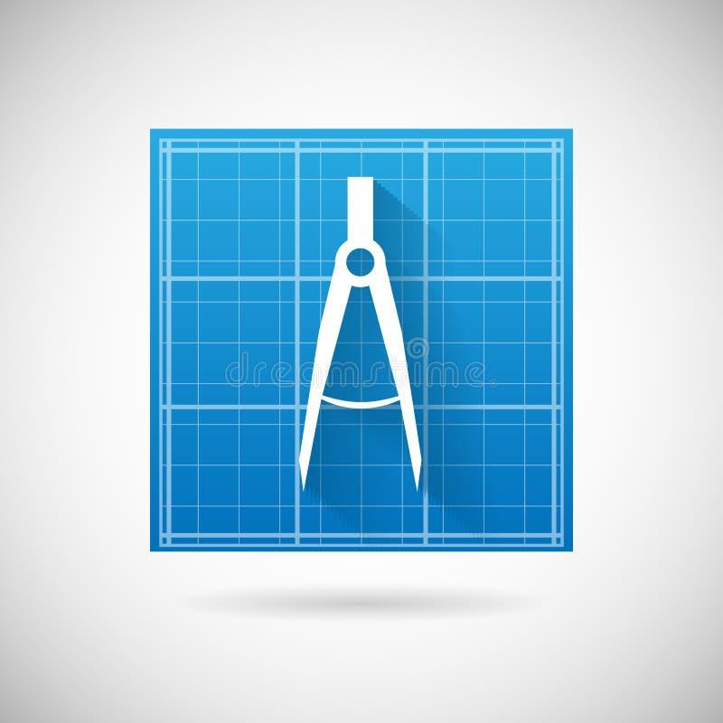 Ritning för teknikplanläggningssymbol och illustration för vektor för mall för design för kompassavdelarsymbol stock illustrationer