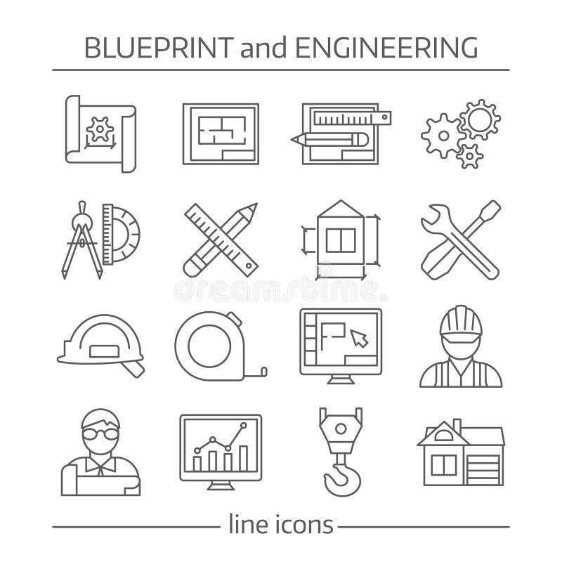 Ritning och iscensätta den linjära symbolsuppsättningen stock illustrationer