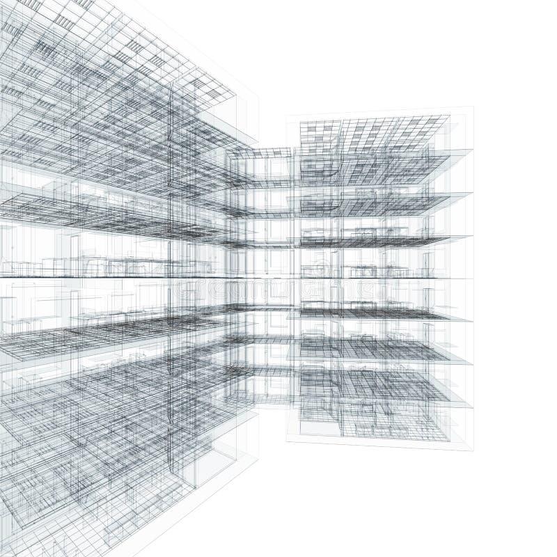 ritningbyggnadskontor vektor illustrationer