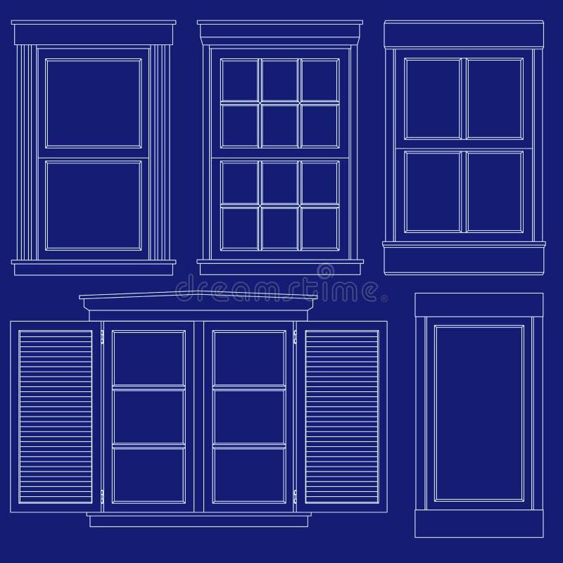 ritningillustrationfönster vektor illustrationer