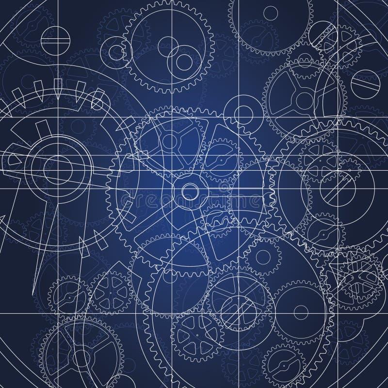 ritningkugghjul stock illustrationer