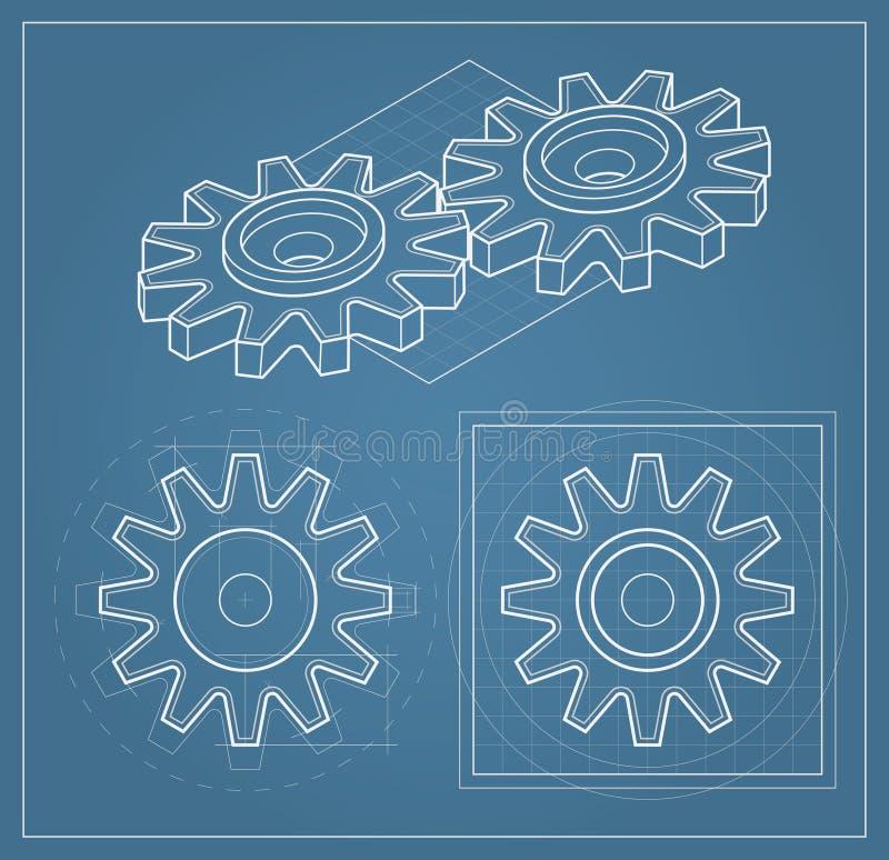ritningkugghjul vektor illustrationer
