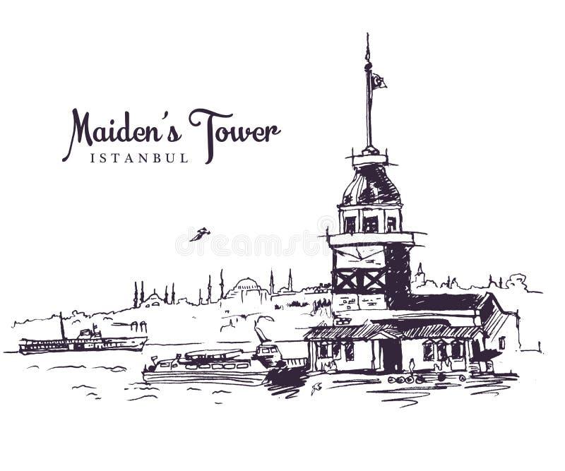 Ritningsbild för Maidens torn stock illustrationer