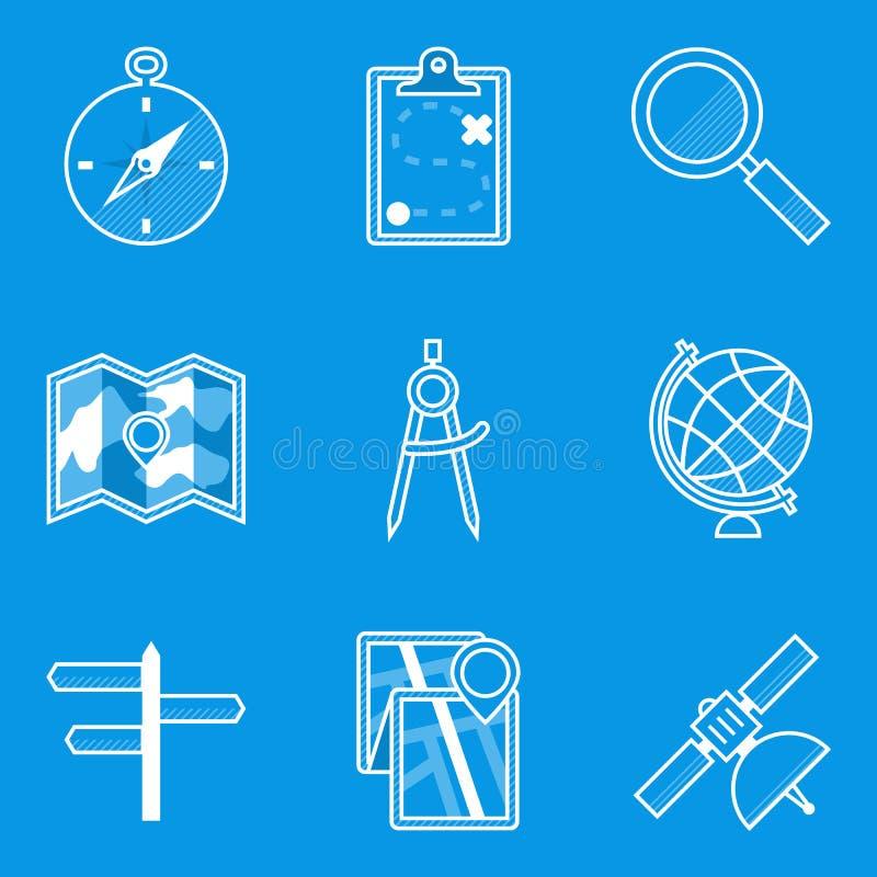 Ritningsymbolsuppsättning navigering stock illustrationer