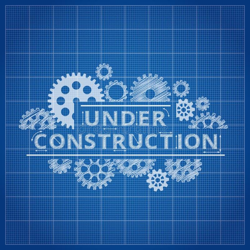 Ritningwebsitebakgrund Under bakgrund för blått tryck för konstruktion stock illustrationer