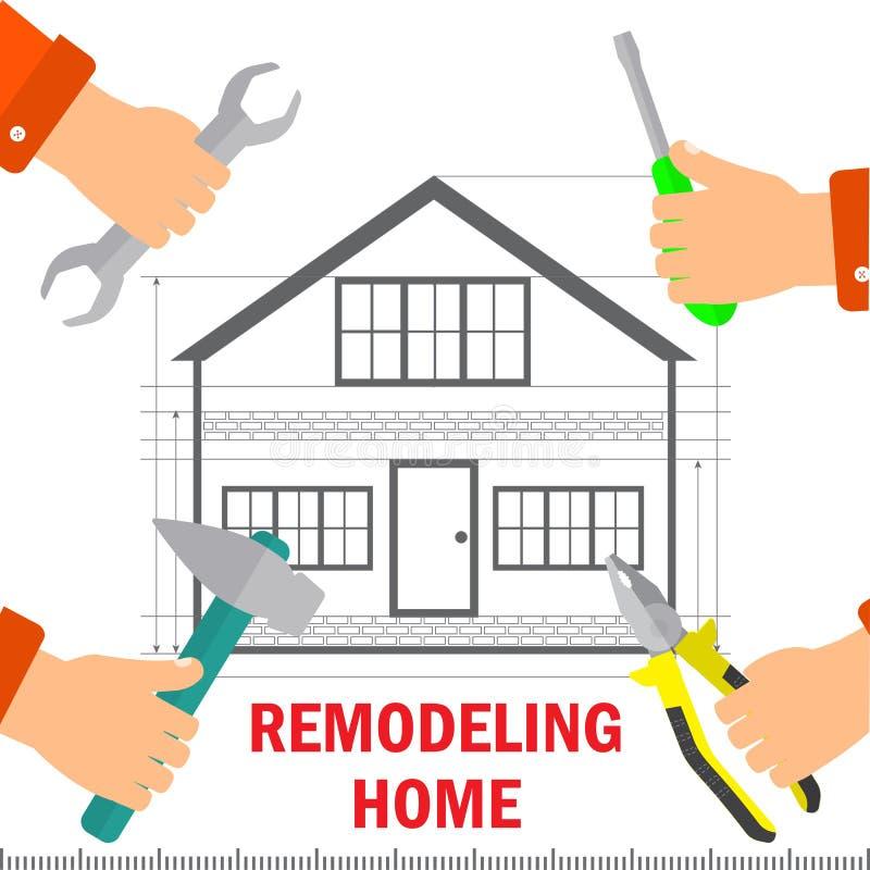 Ritocco a casa Concetto domestico di tecnologia e di rinnovamento Le mani del ` s degli uomini tengono gli strumenti per le ripar illustrazione di stock