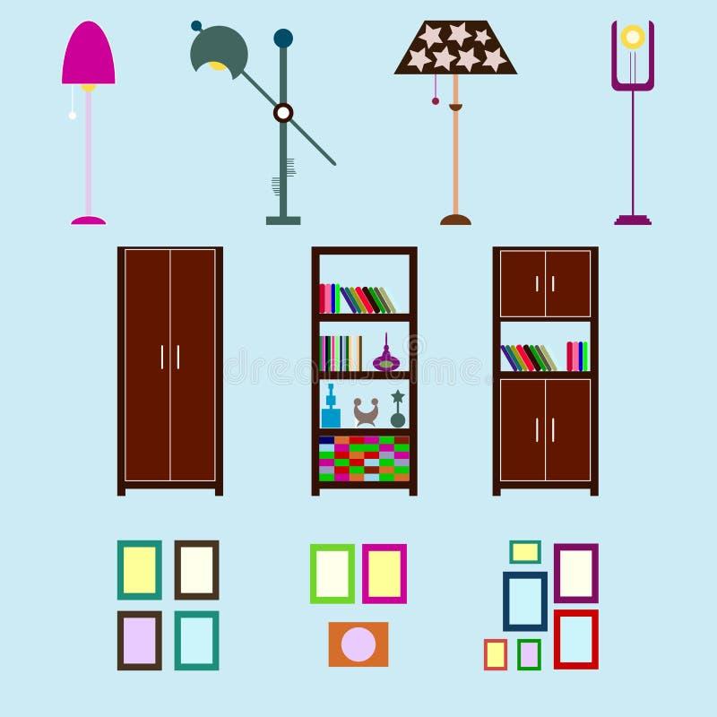 Ritocco della Camera infographic Elementi interni piani stabiliti per cre illustrazione di stock