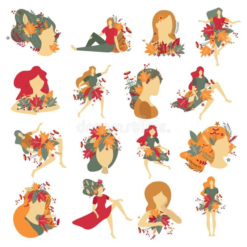 Ritratti Autumn Decorations Icons delle ragazze illustrazione di stock
