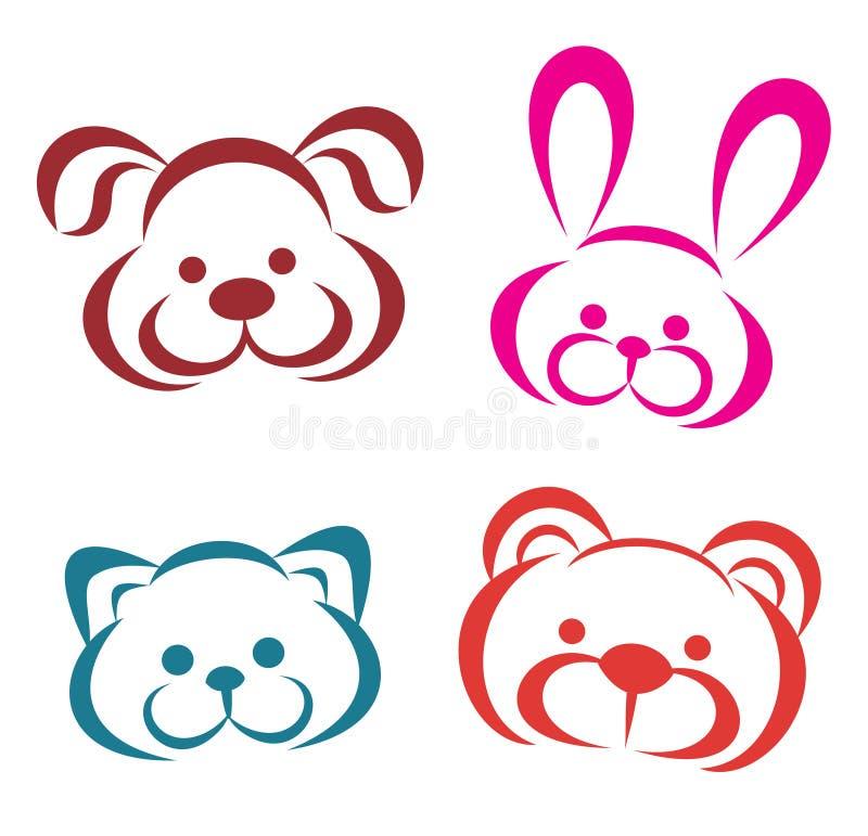 Ritratti degli animali dell'orsacchiotto illustrazione di stock