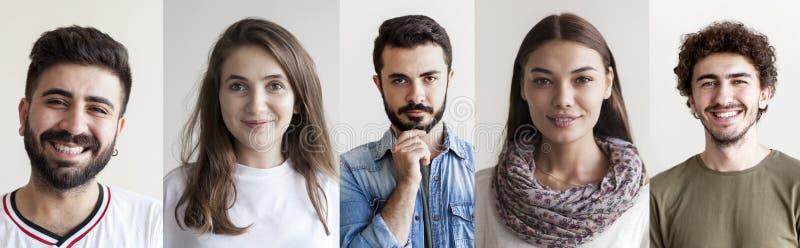 Ritratti del collage sorridente della gente immagine stock