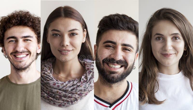 Ritratti del collage sorridente della gente fotografia stock