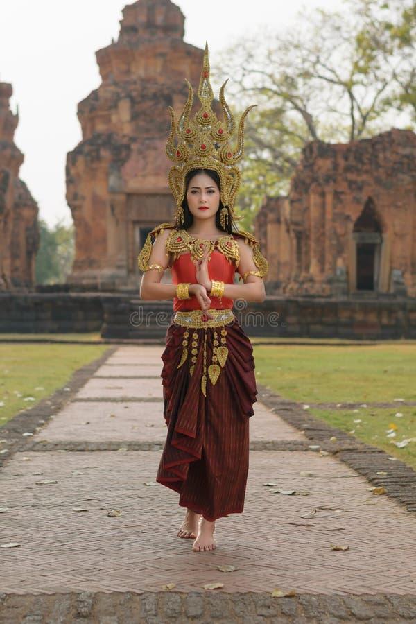 Ritratti nel concetto Apsara , La leggenda della femmina nel ancie immagine stock libera da diritti