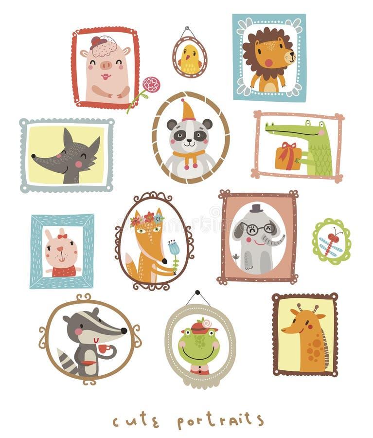 Ritratti svegli con l'animale royalty illustrazione gratis
