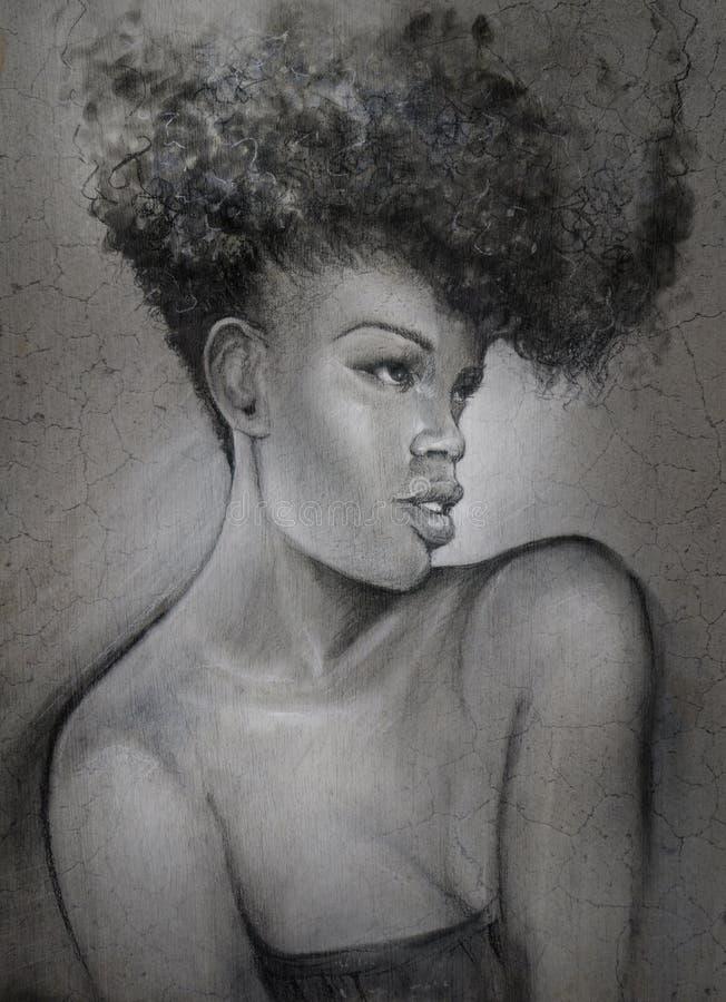 Ritratto afoso della donna del nero del disegno di carboncino royalty illustrazione gratis