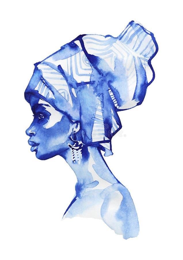 Ritratto africano di modo della donna dell'acquerello Ragazza disegnata a mano di bellezza su fondo bianco illustrazione vettoriale