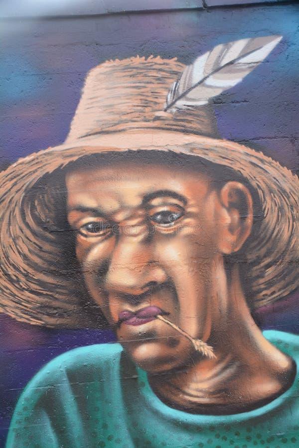 Ritratto afroamericano dei graffiti a Portland, Oregon fotografia stock libera da diritti