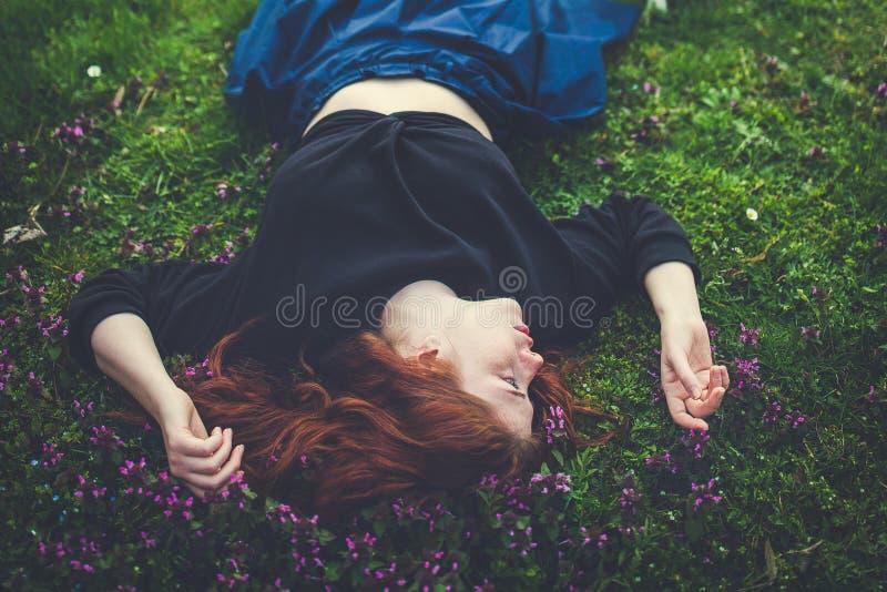 Ritratto all'aperto della bella giovane donna della testarossa immagini stock
