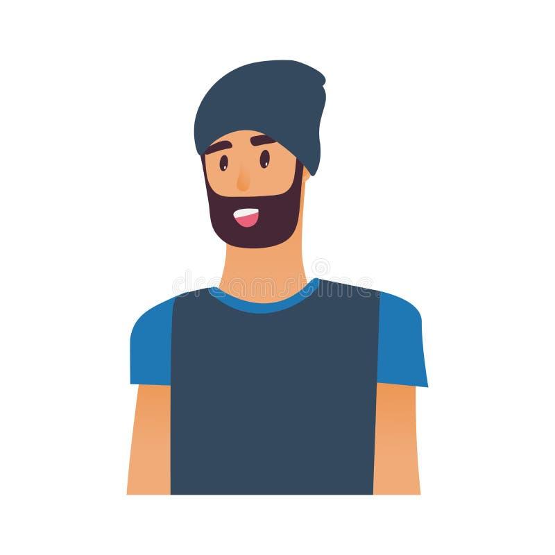 Ritratto alla vita di giovane uomo barbuto con il cappello isolato su fondo bianco - carattere maschio del fumetto in t-breve blu royalty illustrazione gratis