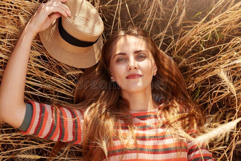 Ritratto alto vicino del tramonto e dell'alba di raduno della giovane donna di estate nel giacimento di grano, signora attraente  fotografie stock libere da diritti