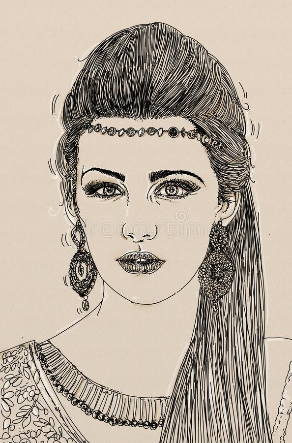 Ritratto artistico da disegno a tratteggio di una ragazza attraente della giovane donna con capelli lunghi e gli orecchini decora royalty illustrazione gratis