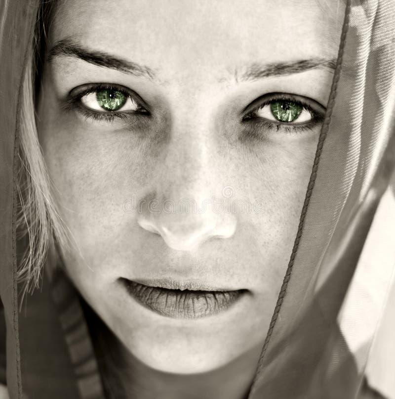 Ritratto artistico della donna con i bei occhi fotografia stock