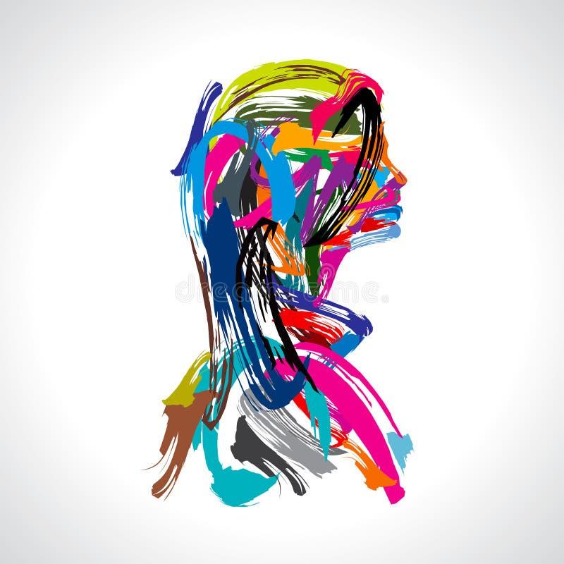 Ritratto artistico di signora con lo strock di colori illustrazione di stock