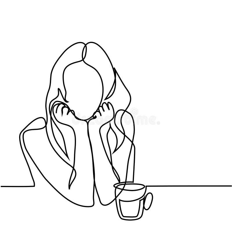 Ritratto astratto di una donna con la tazza di tè royalty illustrazione gratis