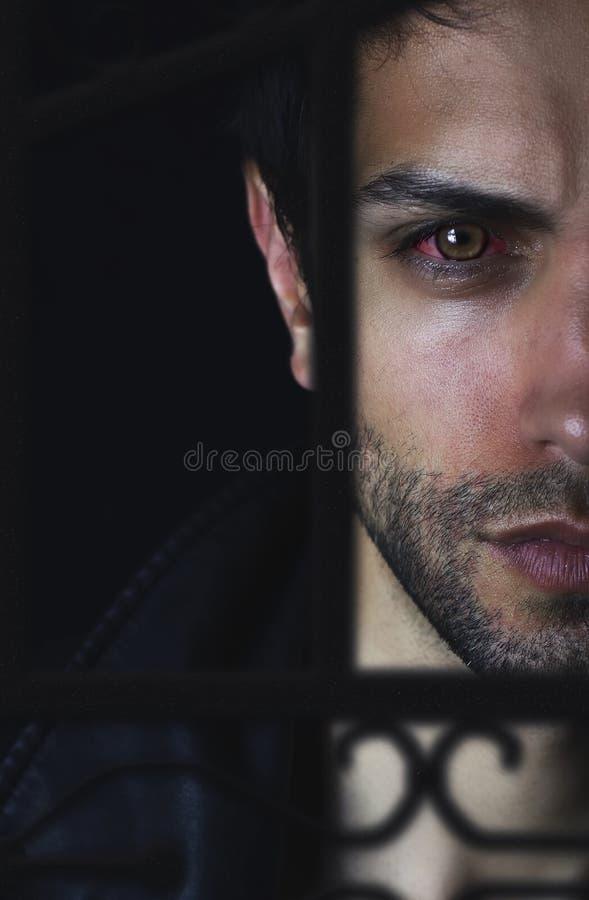 Ritratto bello dell'uomo del vampiro sul nero immagini stock libere da diritti