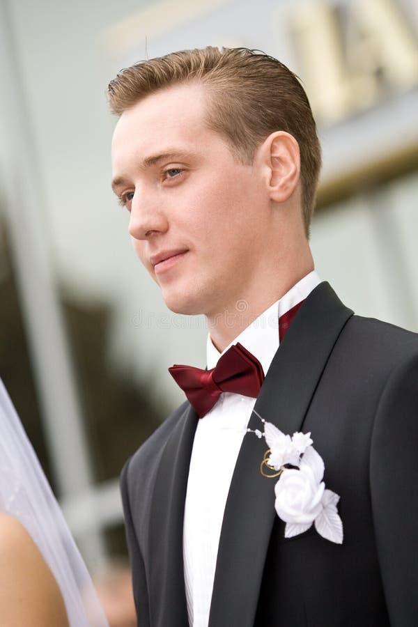Ritratto bello dello sposo dei giovani fotografia stock libera da diritti