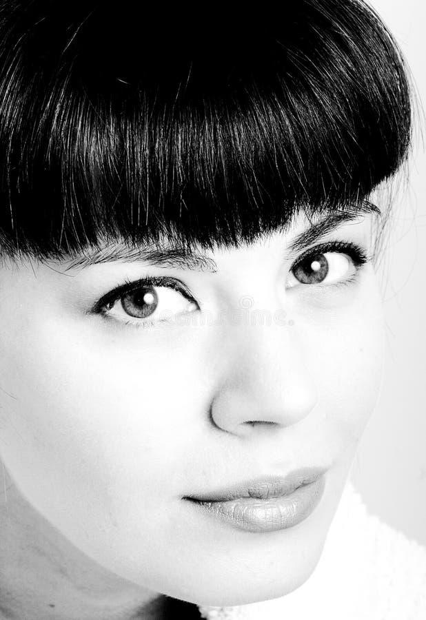 Ritratto in bianco e nero alto vicino di estremo dell'voi fotografia stock libera da diritti