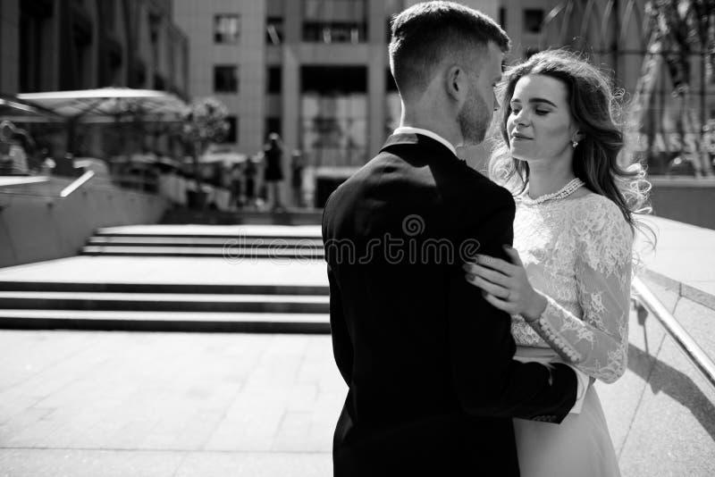 Ritratto in bianco e nero della sposa e dello sposo immagini stock libere da diritti