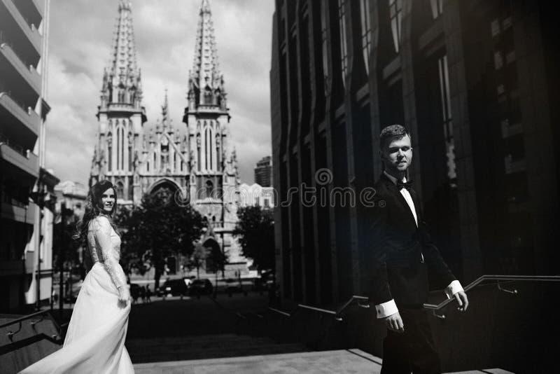 Ritratto in bianco e nero della sposa e dello sposo fotografia stock