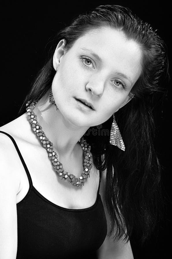 Ritratto in bianco e nero delle donne fotografia stock