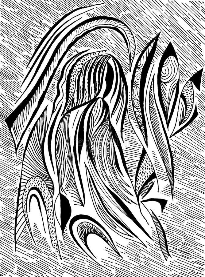 Ritratto in bianco e nero di Absrtract illustrazione vettoriale