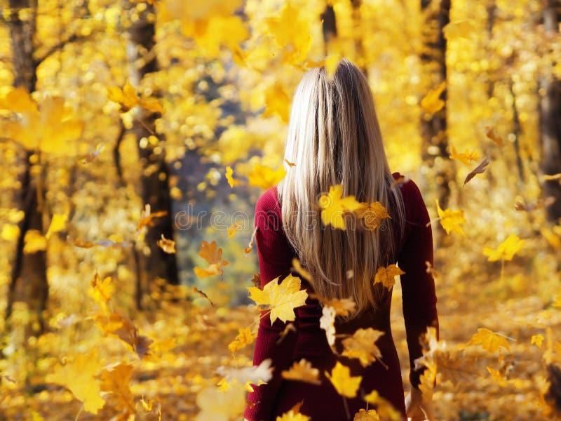Ritratto biondo della ragazza alla vista posteriore della foresta di autunno alle foglie cadenti immagine stock libera da diritti