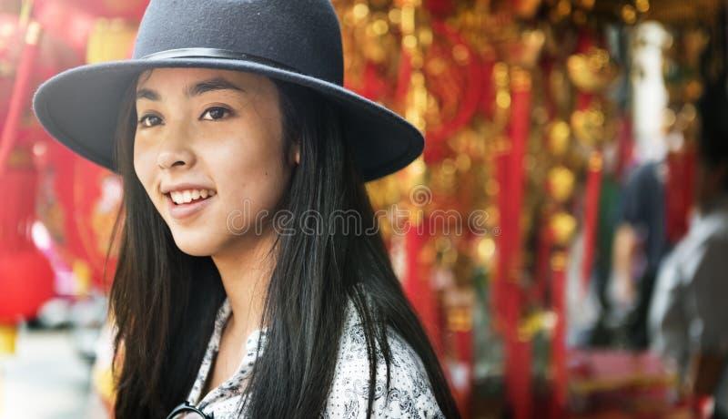 Ritratto casuale Joy Concept di godimento di etnia asiatica immagine stock libera da diritti