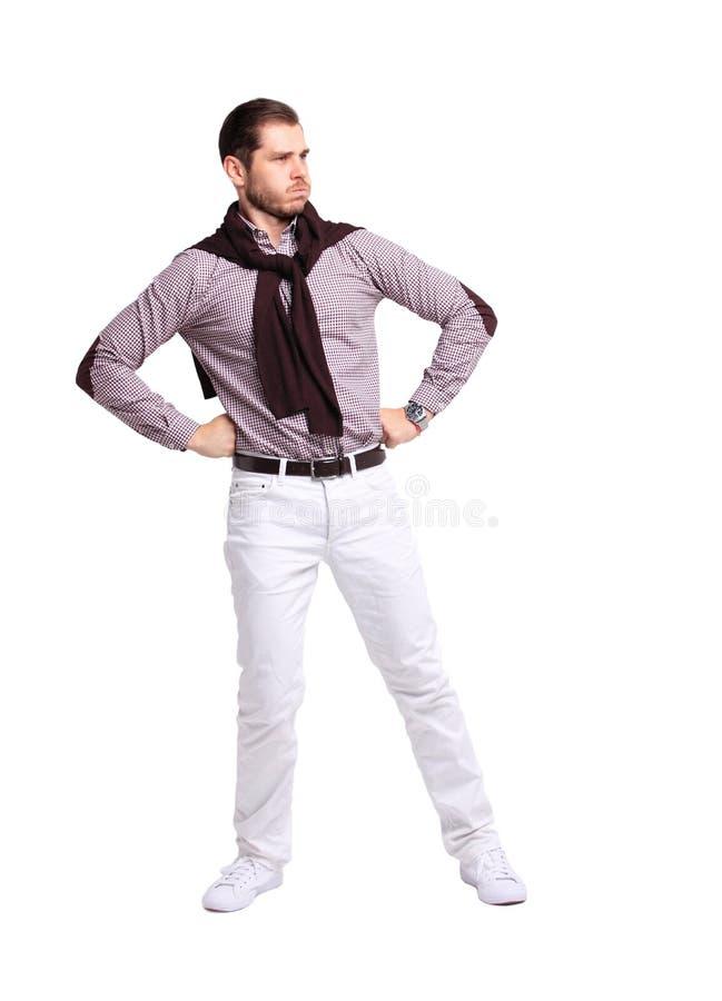 Ritratto completo del corpo di giovane uomo allegro sorridente felice di affari, sopra bianco fotografia stock