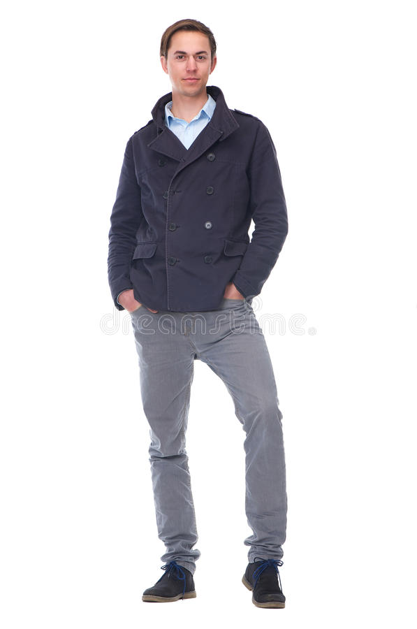 Ritratto completo del corpo di un giovane d'avanguardia in giacca blu fotografie stock libere da diritti