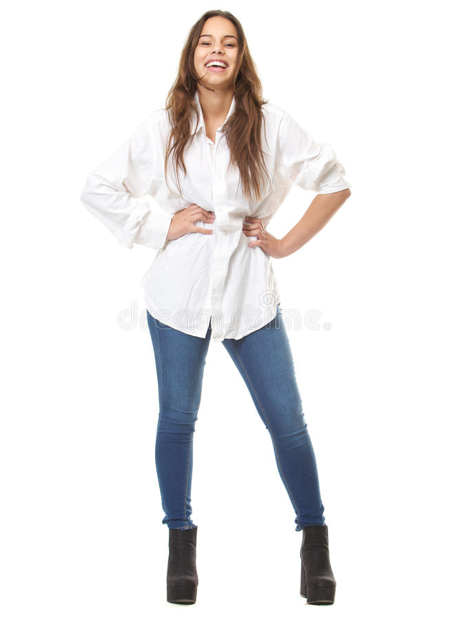 Ritratto completo del corpo di una risata felice della donna immagini stock libere da diritti
