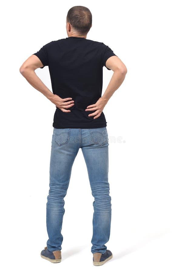 Ritratto completo dell'uomo su dolore alla schiena immagine stock libera da diritti