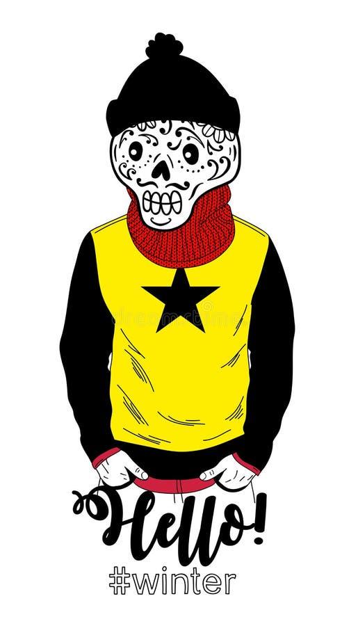 Ritratto creativo dell'uomo morto in vestiti di inverno illustrazione vettoriale