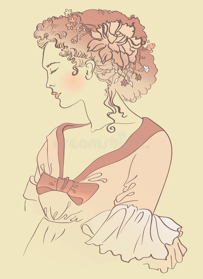 Ritratto d'annata della donna di modo illustrazione di stock