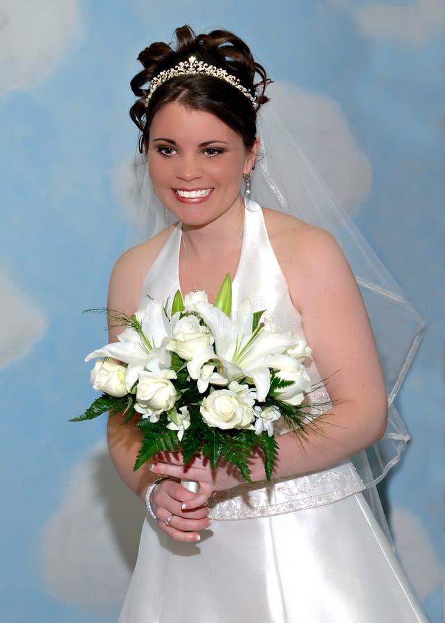 Ritratto d'arrossimento della sposa fotografia stock