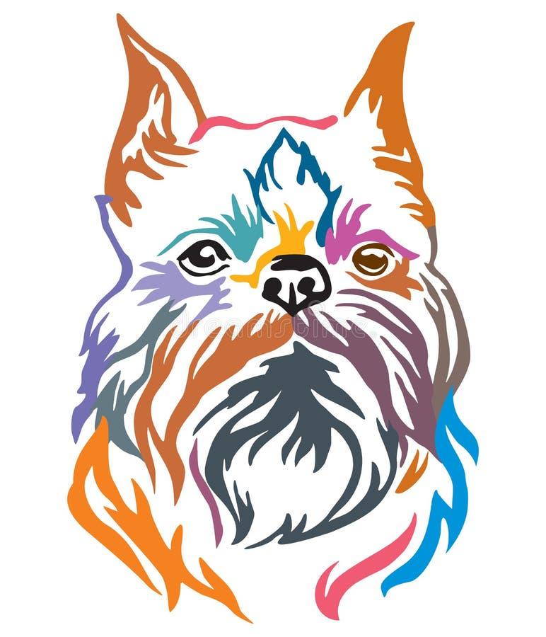 Ritratto decorativo variopinto del illu di vettore di grifone di Bruxelles del cane royalty illustrazione gratis