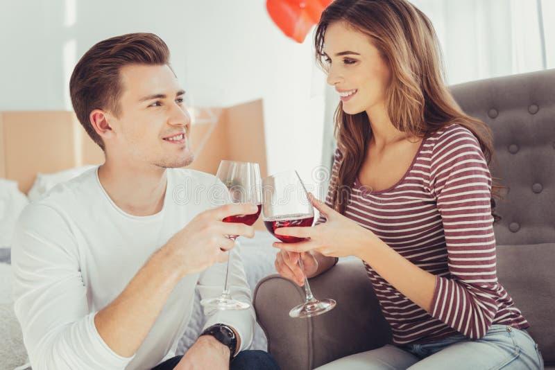 Ritratto degli amanti affascinanti che bevono vino immagine stock libera da diritti