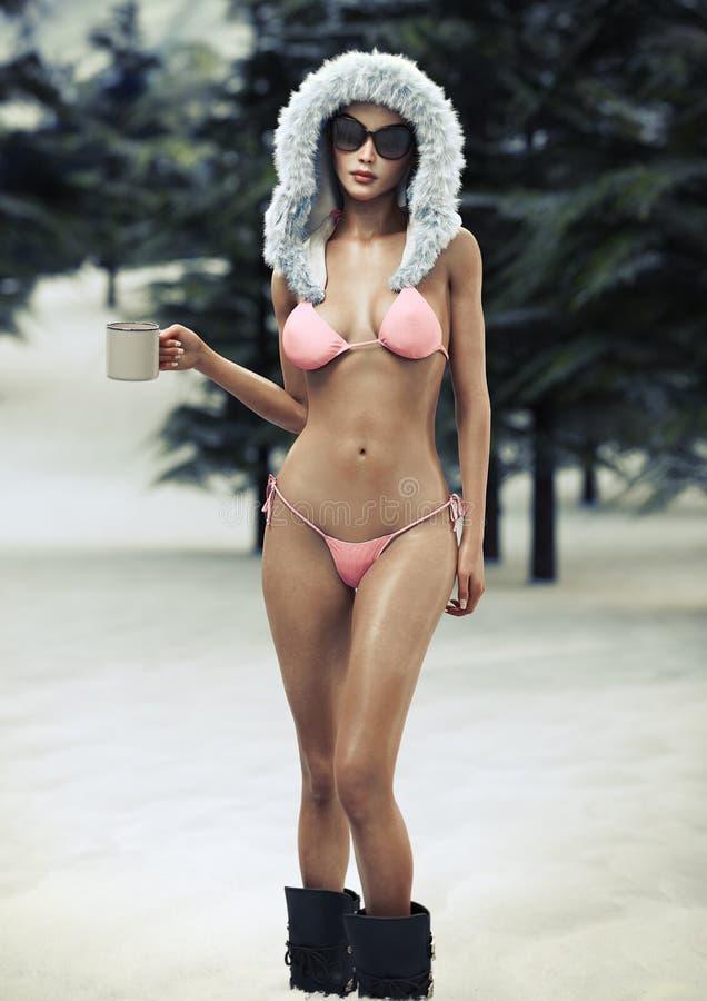 Ritratto degli scarponi da sci di una femmina sexy, del cappello di pelliccia di inverno e del bikini d'uso di designazione di po illustrazione di stock
