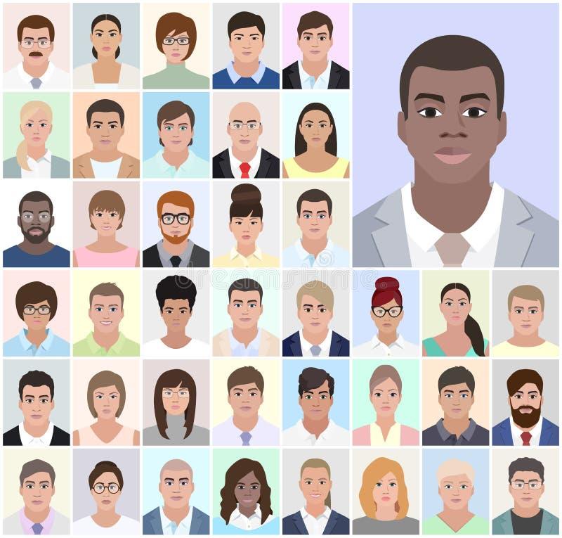 Ritratto degli uomini africani, gente di affari, illustrazione di vettore illustrazione vettoriale
